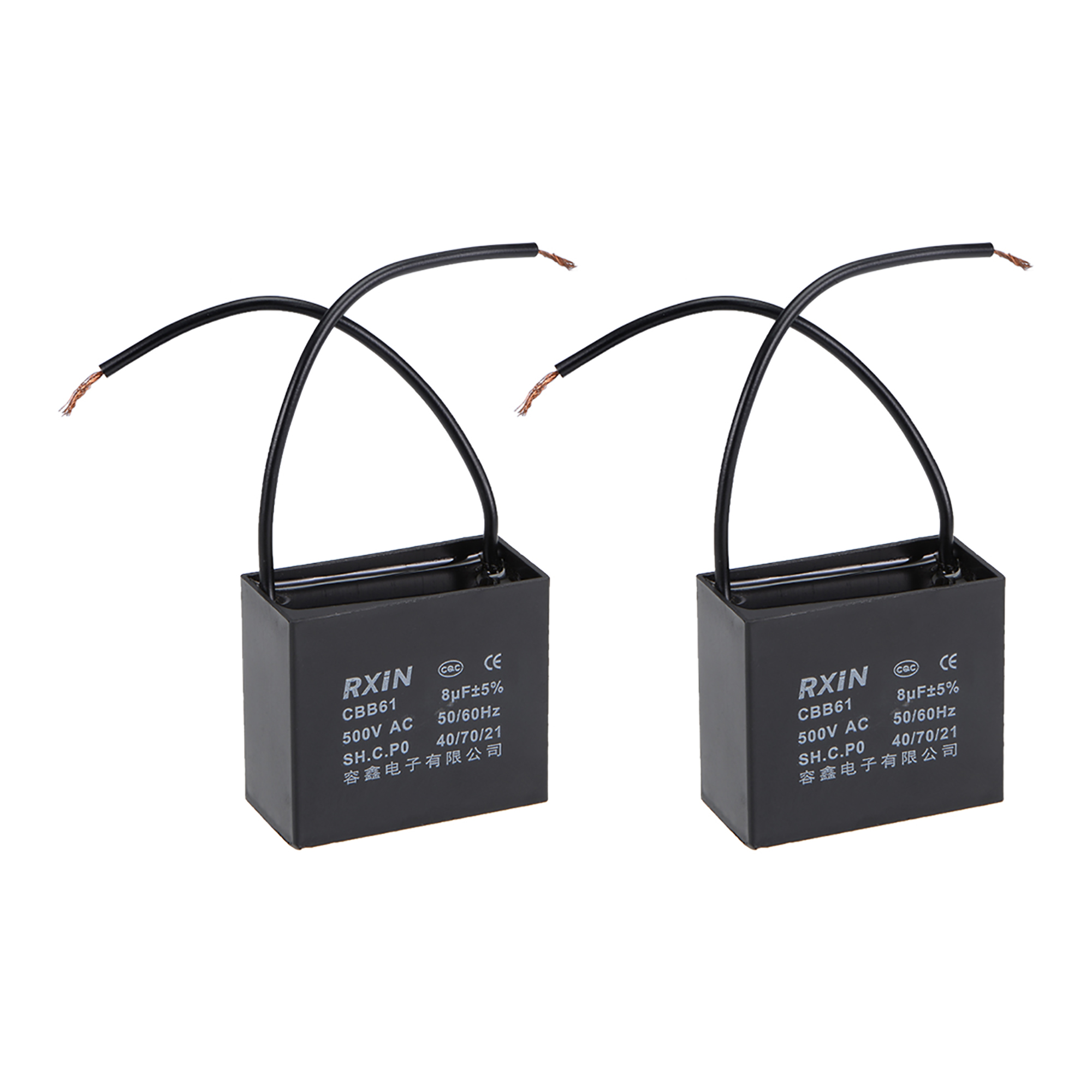 2 Wire Cbb61 Ceiling Fan Capacitor 8uf 500v Ac  Metallized