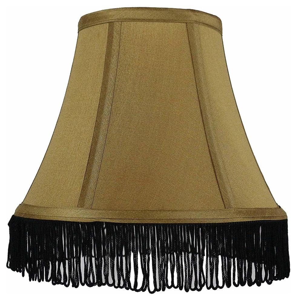 "Urbanest Silk Bell Lamp Shade, 5x9x7"", Black With Black Fringe"