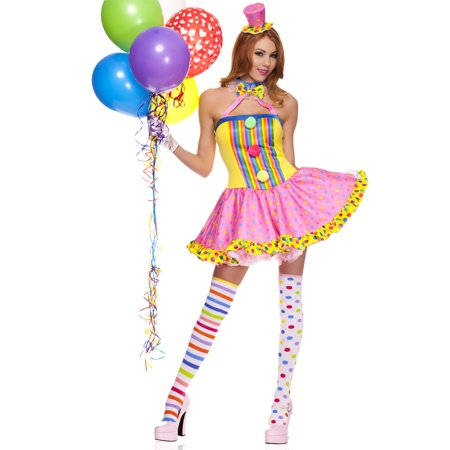 Music Legs Sexy Womens Polka Dot Circus Clown Halloween Costume M/L