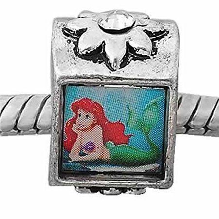 Little Mermaid Charm Bead Spacer with  Crystal Stone For Snake Chain Charm Bracelet](Little Mermaid Charms)