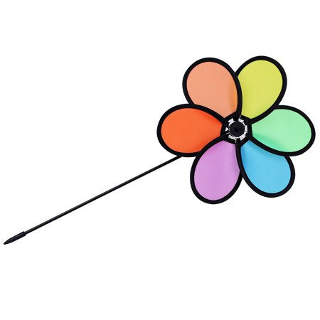 Sonew DIY  Multicolor Flower Windmill Pinwheel Whirligig Garden Windmill Plastic Toy Classic Children, Whirligig, Garden Windmill - image 7 of 11