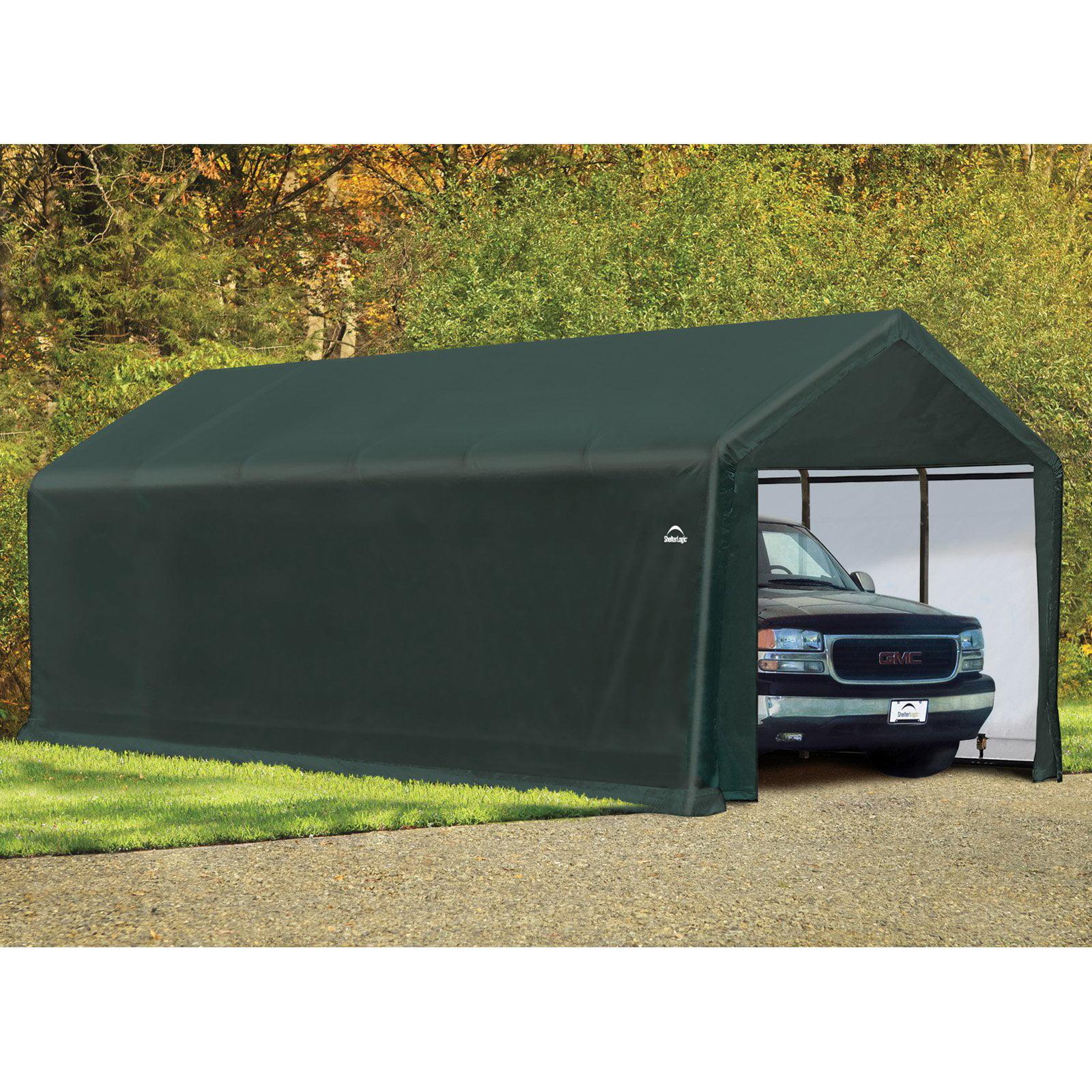 Click here to buy ShelterTube 12' x 30' x 11' Peak Style Garage Shelter, Green by ShelterLogic.