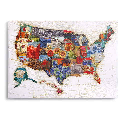 DEMDACO American Backroads State Icons Map by Tim Coffey Graphic Art on Canvas