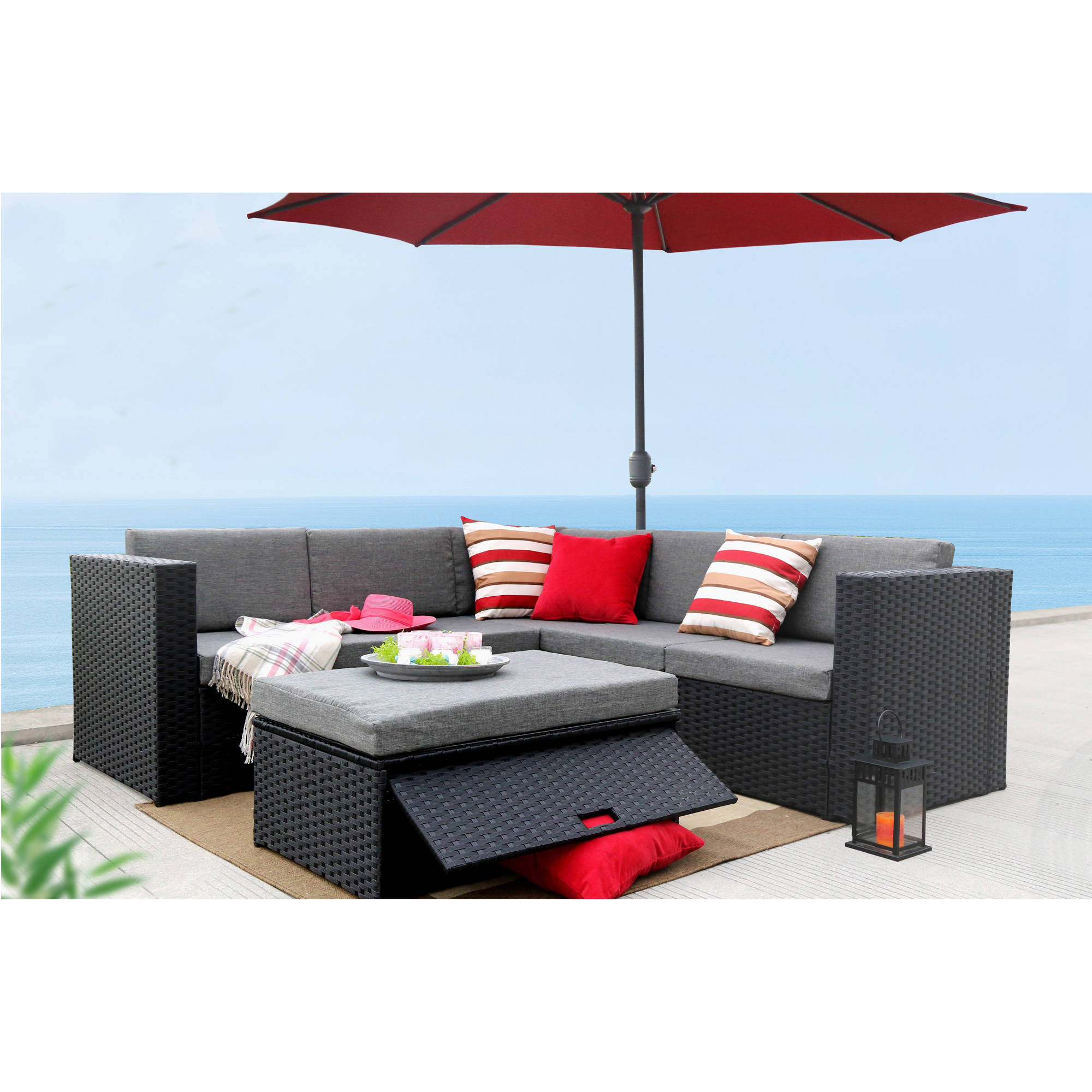 Baner Garden Outdoor Furniture Complete Patio PE Wicker Rattan Garden Corner Sofa Couch Set, Black, 4 Pieces