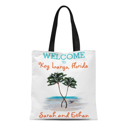 Palm Tree Purse (ASHLEIGH Canvas Tote Bag Florida Palm Trees Weekend Wedding Welcome Tropical Destination Hawaii Reusable Handbag Shoulder Grocery Shopping Bags)