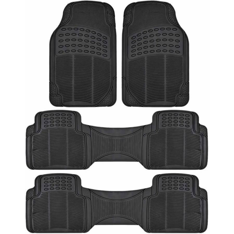 BDK Car SUV and Van Floor Rubber Mats 3 Row, Heavy Duty All Weather Protection, 3 Colors
