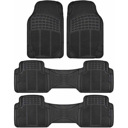 BDK Car SUV and Van Floor Rubber Mats 3 Row, Heavy Duty All Weather Protection, 3