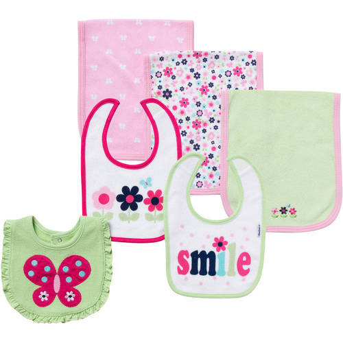 Gerber Terry Bibs & Burps, Girl, 6-Pack