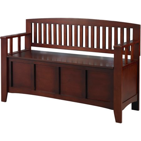 Mudroom Bench - Linon Cynthia Storage Bench, Walnut, 18 inch Seat Height