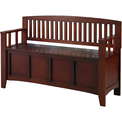 Linon Cynthia Storage Bench, Walnut, 18 inch Seat Height