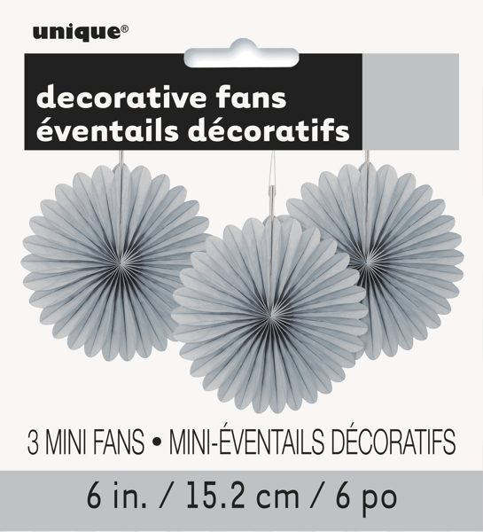 Tissue Paper Fan Decorations, 6 in, Silver, 3ct
