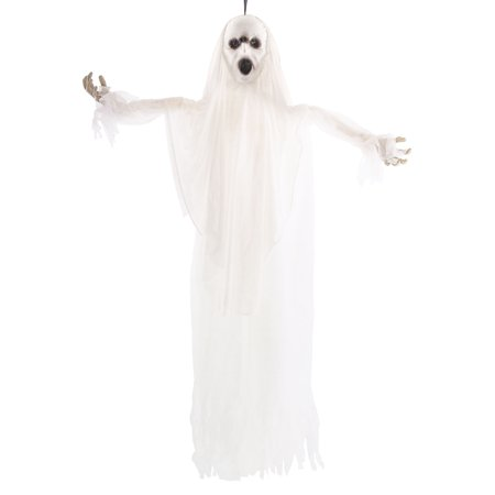 Halloween Haunters Animated Hanging White Scream Ghost with Strobing Light  & Voice - Prop Decoration