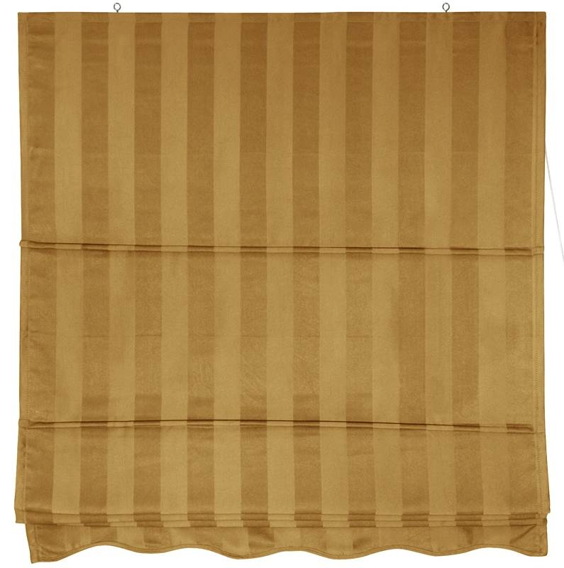 Striped Gold Retractable Roman Window Blind (24 in. W x 72 in. H)