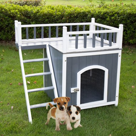 Kinbor Wooden Pet House Puppy Dog House Indoor & Outdoor Dog Room Raised Roof Balcony Bed Shelter