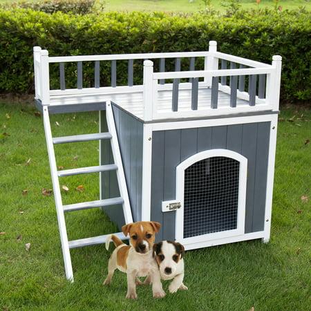 Kinbor Wooden Pet House Puppy Dog House Indoor & Outdoor ...