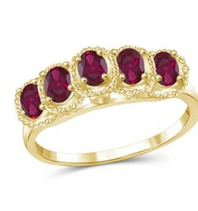 1 1/3 Carat T.G.W. Ruby Sterling Silver Fashion Ring - 6
