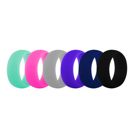 9mm Braided Wedding Band Ring ((Price/6 PCS) GOGO Premium Women's Silicone Wedding Rings - 9 mm Wide (2 mm Thick) Flexible Wedding Bands)