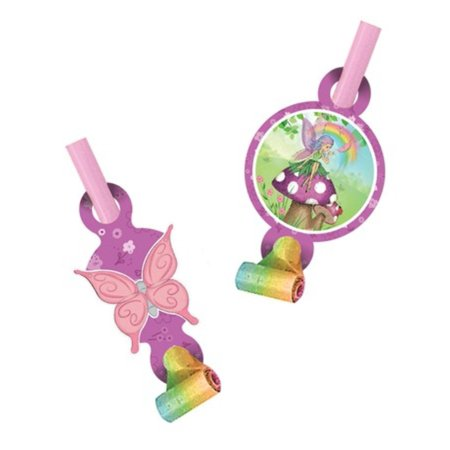 Club Pack of 48 Fancy Fairy Pastel Rainbow and Butterfly Blowout Noisemaker Party Favors with Medallions