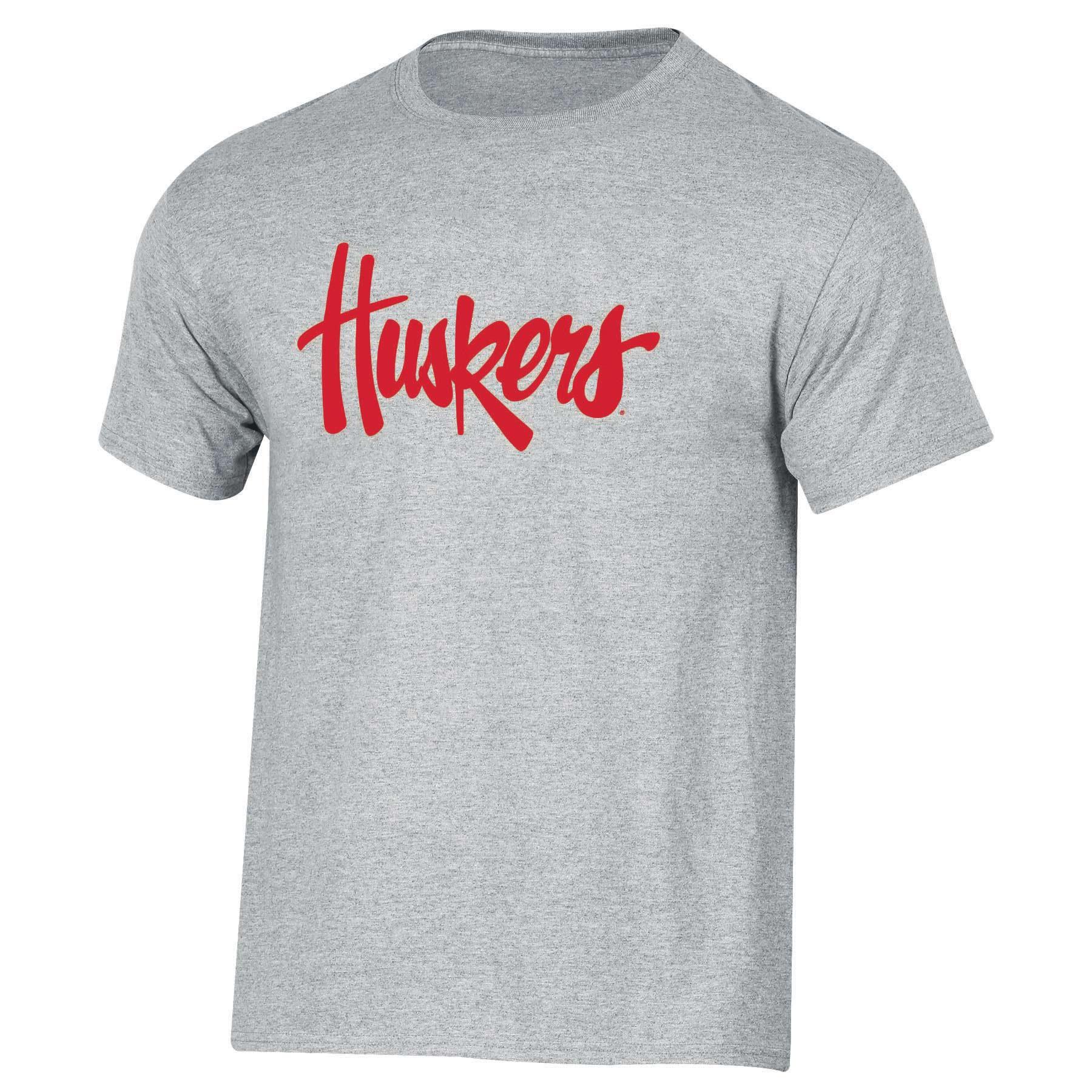 Men's Russell Heathered Gray Nebraska Cornhuskers Crew Primary Logo T-Shirt