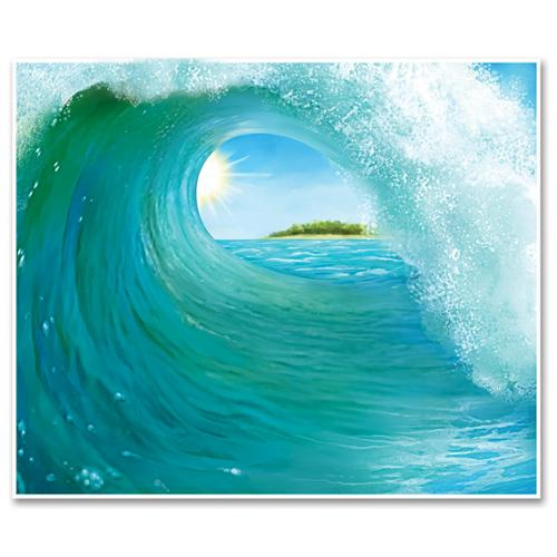 Pack of 6 Crystal Blue Tunnel Surf Wave Mural Photo Backdrop Party Decorations 6'