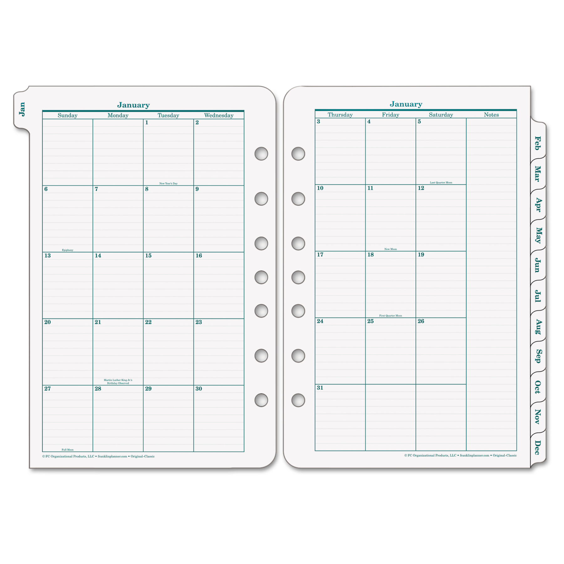 FranklinCovey Original Dated Monthly Planner Refill, January-December, 5 1/2 x 8 1/2, 2018