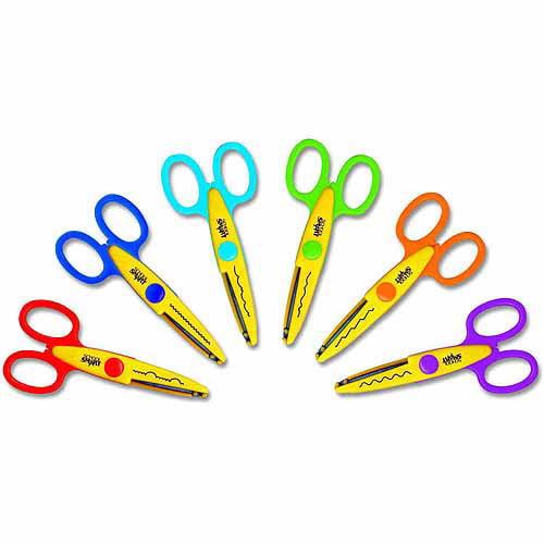 School Smart Paper Edger Scissor Set, Assorted Color, Set of 6