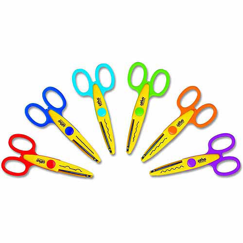 School Smart Paper Edger Scissor Set, Assorted Color, Set of 6