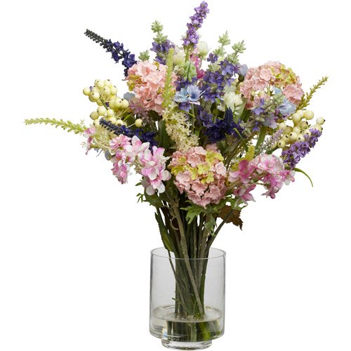 Nearly Natural Lavender And Hydrangea Silk Flower Arrangement Walmart Com Walmart Com