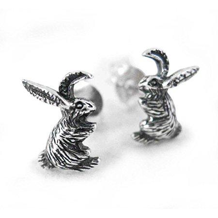 Sterling Silver Bunny Rabbit Stud Post Earrings