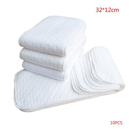 10PCS Reusable baby Diapers Cloth Diaper Inserts 1 piece 3 Layer Insert 100% Cotton Washable Baby Care Products