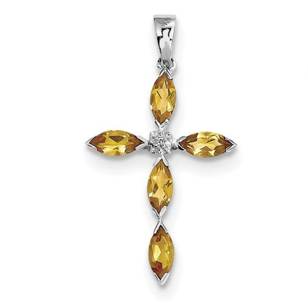 Sterling Silver Rhodium Citrine & Diamond Cross Pendant. Gem Wt- 0.95ct