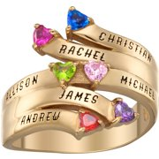 Family Jewelry Personalized Mother's Sterling Silver or 18K Gold over Silver Bypass Heart Birthstone and Name Ring