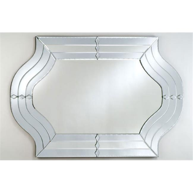 Afina Corporation RM-105 29 inchx 47 inchShaped Contemporary Cut Glass and Etched Wall Mirror