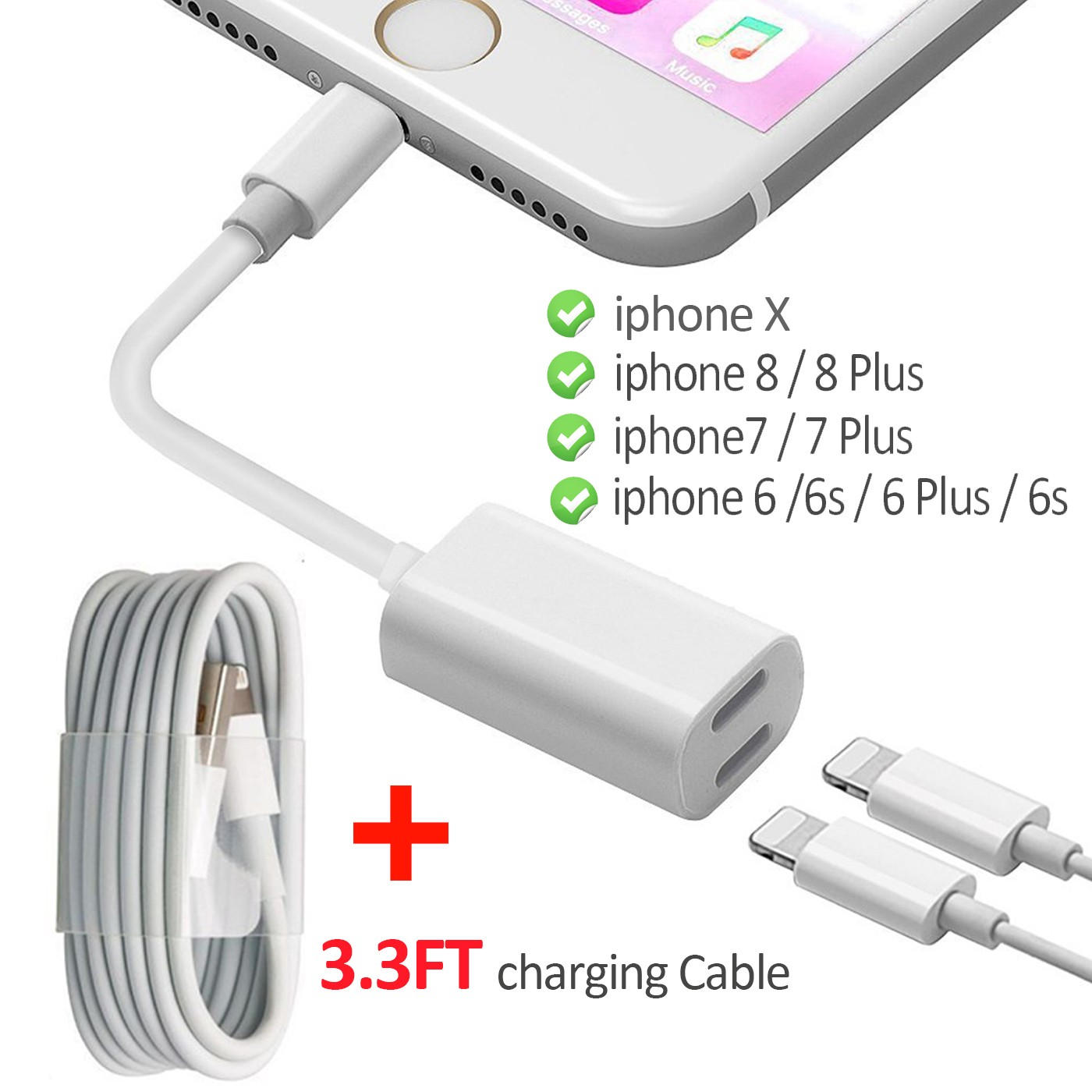 2 In 1 Lightning Adapter For IPhone 7 Plus 8 X Dual Charging Cable And Headphone Jack Splitter Audio Charge