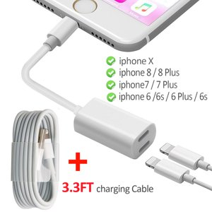 2 in 1 Lightning Adapter for iPhone 7|7 Plus, iPhone 8|8 Plus, iPhone X, Dual Lightning Charging Cable and Headphone Jack Splitter Adapter (Audio + Charge) Support iOS 11