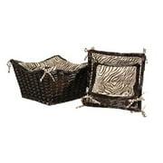 Lamont Zaharra Three Piece Scoop Basket Set with Zebra Lining in Chocolate WL...