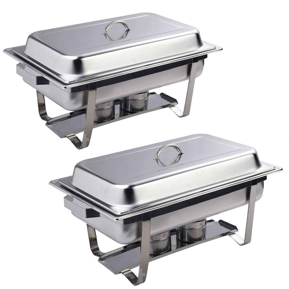 (2 Pack) 9 Quart Rectangular Chafing Dish Stainless Steel Full Size New MTN-G by Apontus