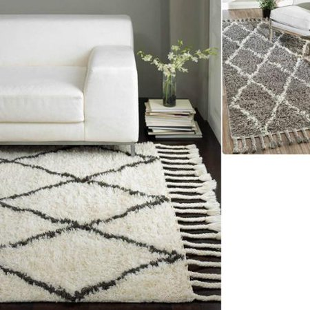 Nuloom Hand Knotted Moroccan Trellis Natural Wool Rug 4