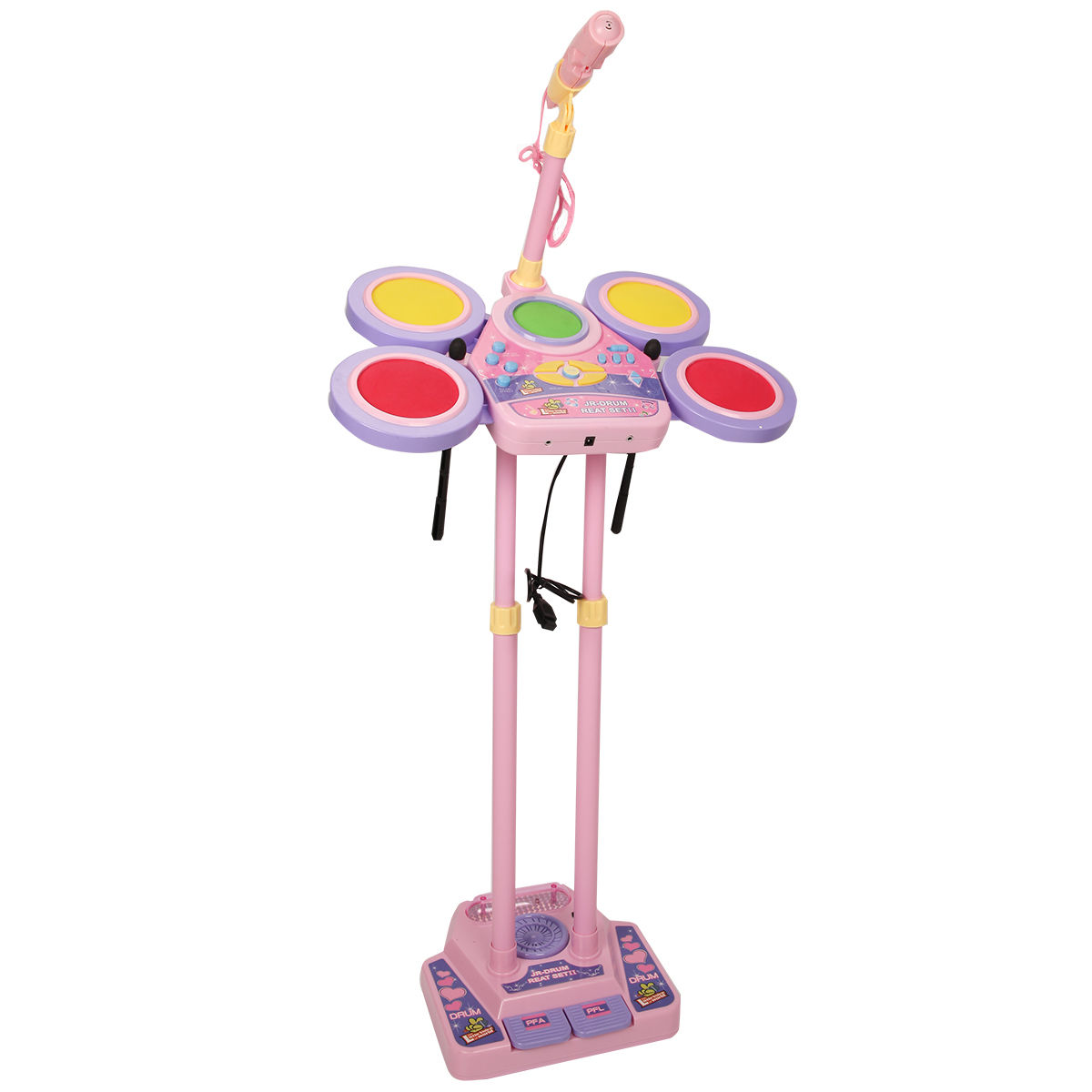 Costway Kids Electronic Drum Set MP3 Function w  Microphone & Height Adjustable Stand by Costway