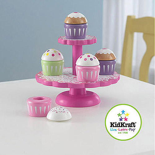 KidKraft Wooden CUpcake Stand with CUpcakes