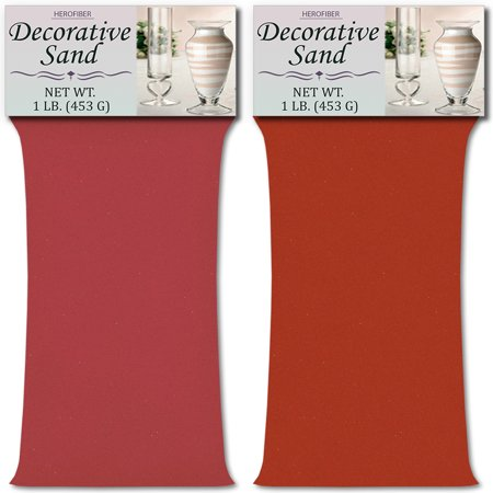 HeroFiber Colored Unity Sand (2 lbs.) - Rose and Coral - 1 lbs. per Color - Decorative Art Sand for Weddings, Vase Filling, Kids' Craft - Coral Color Wedding