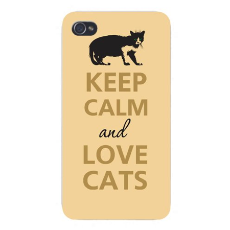 Crouching Cat (Apple Iphone Custom Case 5 / 5s AND SE White Plastic Snap on - Keep Calm and Love Cats Dark Silhouette)