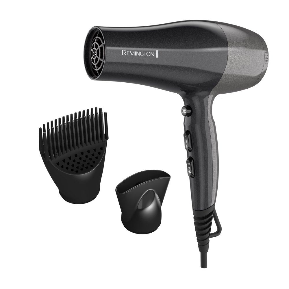 Remington Pro Touch Activated Volume Styler Hair Dryers, Black with Concentrator and Diffuser