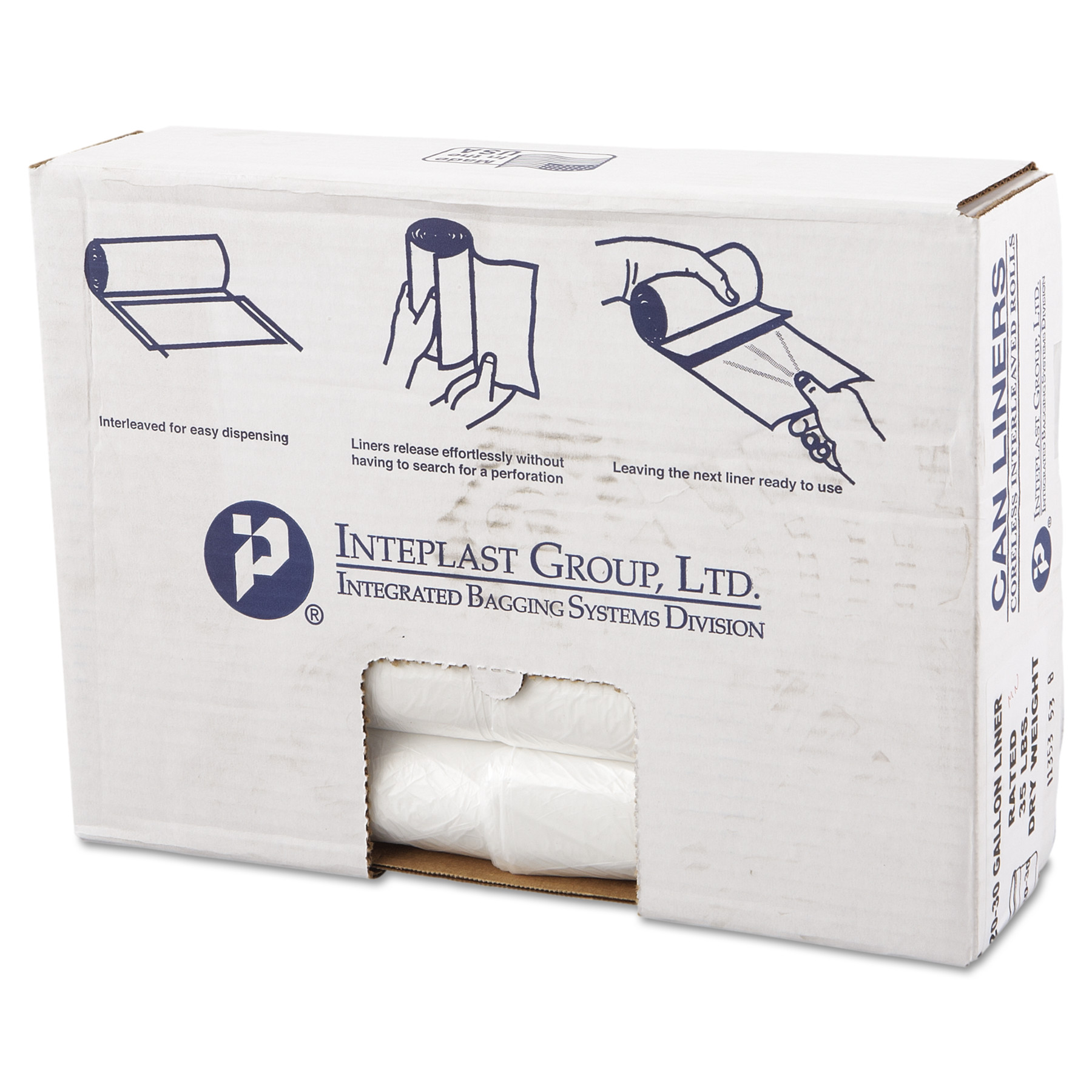 Inteplast Group High-Density Trash Bag, 30 x 36, 30gal, 11mic, Clear, 25/Roll, 20 Rolls/Carton