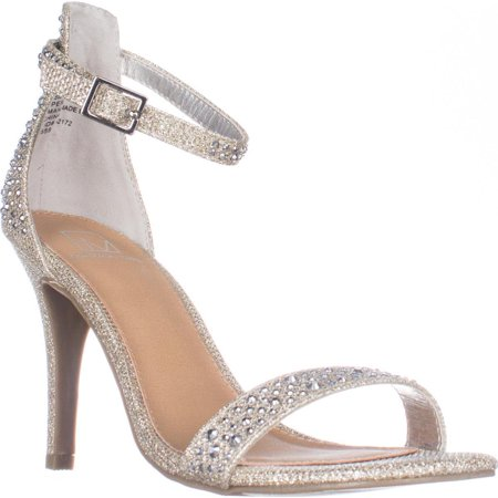 Womens MG35 Blaire Ankle Strap Dress Heel Sandals, Silver ()