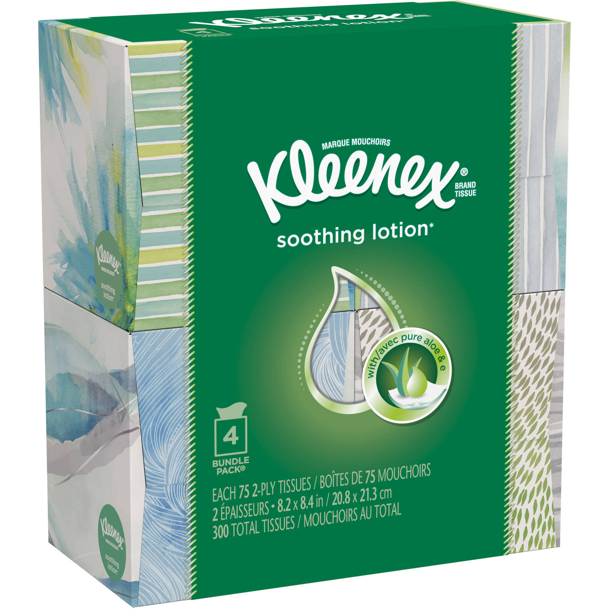 Kleenex Facial Tissues, Lotion, 75 Sheets, Pack of 4 (Designs May Vary)