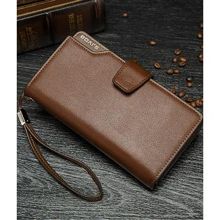 Men's 3 folds High Quality Large Section Wallet Brown