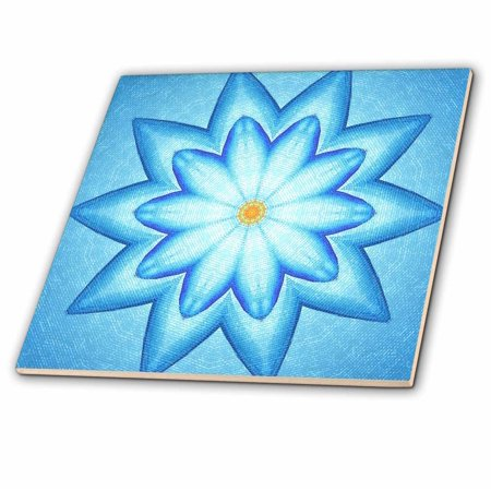 3dRose Blue Lotus Flower Kaleidoscope Pattern - Ceramic Tile, 4-inch