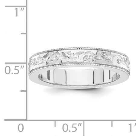 14K White Gold fancy wedding band - image 1 de 2