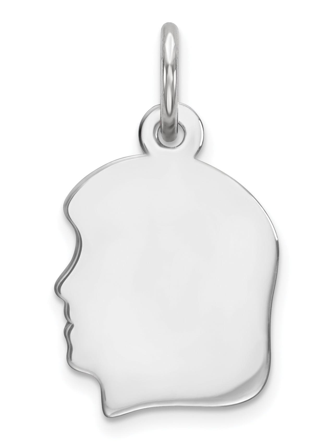 925 Sterling Silver Engraveable Girl Disc Polish on Front/Back Pendant / Charm